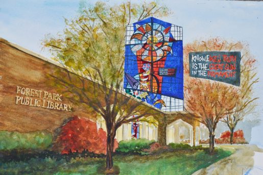 In honor of his retirement, he was given a portrait of the library painted by library board member Lin Beribak. | Courtesy Forest Park Library