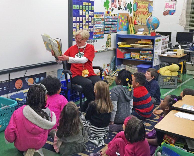 Garfield teachers treated visiting children to readings of their favorite Dr. Seuss books.   Courtesy Garfield School