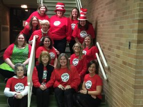 Garfield teachers put in extra hours as a treat for Seuss-loving students.   Courtesy Garfield School