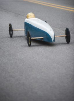 The leader speeds down the track during the Soap Box Derby on Saturday, June 4. | William Camargo/Staff Photographer