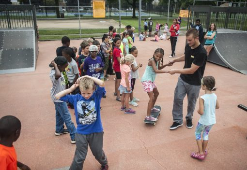 Kids turned out to learn basic skateboarding skills and safety tips at the Bud Mohr Skate Park last Thursday, sponsored by the Park District of Forest Park. | William Camargo/Staff Photographer