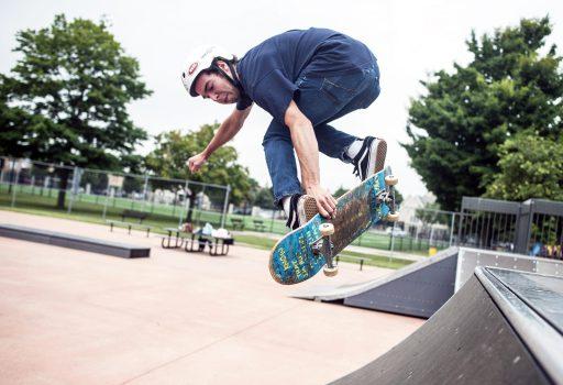 Jared Kuhn performs a ramp trick during Safe Skate. | William Camargo/Staff Photographer