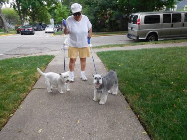 Baxter and Bentley with their caregiver Rae. | JACKIE SCHULZ/Contributor