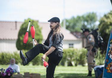 Professor Pinkerman juggles. | William Camargo/Staff Photographer