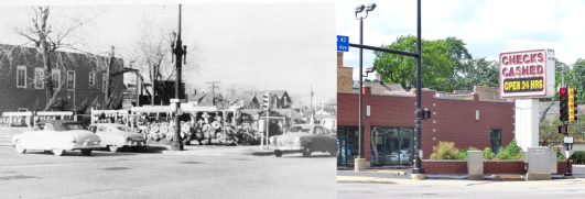 (Left) The northwest corner of Harlem and Roosevelt in 1952 shows the early incarnation of R. Quitsch Florist, a busy place showcasing memorial cemetery wreaths and floral arrangements. | Courtesy Dixie Paugh (Right) The corner as it looks today, featuring a currency exchange sign and a flower planter, overgrown with weeds. The corner could use a little sprucing up. | Photo by Jill Wagner