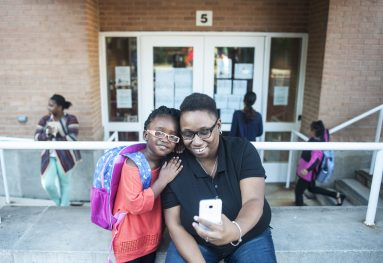 Samira and her mom Alicia Forest take a selfie before the first day of kindergarten. | William Camargo/Staff Photographer