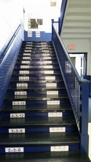 Math facts are displayed around the building