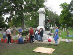 A small, dedicated group unearthed the Haymarket time capsule. | Photo by Jill Wagner