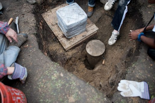 Excavators found a cylinder near the memorial, but it wasn't a time capsule. | File photo