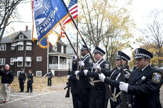 The Police Dept. Color Guard participates in the Veteran's Day celebration at Popelka Park on Nov. 11. | William Camargo/Staff Photographer