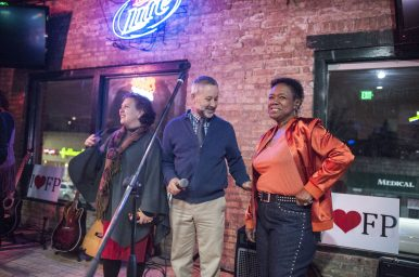 At Doc Ryan's, Friday night, Claudia Medina, Ned Wagner and Theresa Kelly spoke to the crowd to generate enthusiasm for the Proviso Together slate of candidates running in the April 4 election. | William Camargo/Staff Photographer