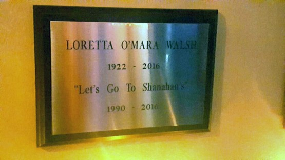 Loretta Walsh's devotion to Shanahan's is memorialized on the wall of the longtime Forest Park institution. | Courtesy Shanahan's