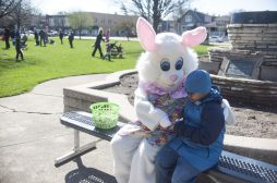 The Easter Bunny consults with Nehemiah Overton. | William Camargo/Staff Photographer