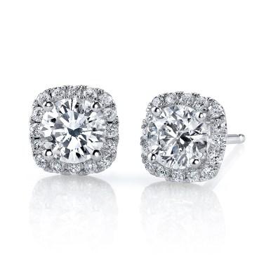 "Stud Earring ""Classic Round Brilliant Cut Diamond Stud Earrings with Cushion Halo"""