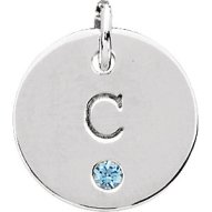 """Sterling Initial """"Sentimental Initial and Birthstone Pendant in Sterling Silver"""""""