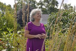 Micki Leventhal, in her backyard garden Forest Park, talks about the monarch butterfly population and her milkweed plants. | Alexa Rogals/Staff Photographer