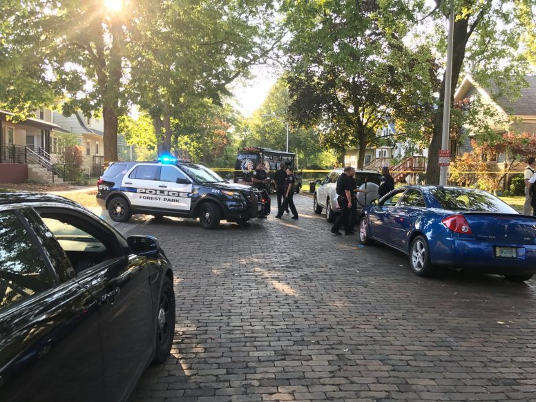 Police from Forest Park and the West Suburban Major Crime Task Force on the scene of a death investigation in the 7700 block of Adams Street on Sept. 20. | MICHAEL ROMAIN/ Staff