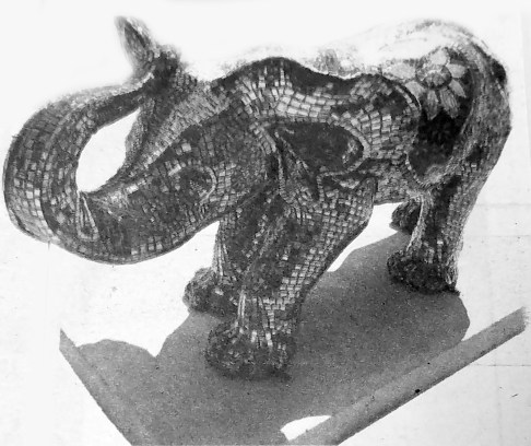 Two Fish Art Glass had their baby elephant statue stolen after just six days on display. | Courtesy Forest Park Historical Society
