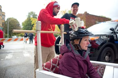 Teams line up and prepare to race on Saturday, Oct. 28, 2017, during the 6th annual Forest Park Chamber of Commerce Casket Races on Beloit Avenue, south of Madison Street in Forest Park, Ill. (ALEXA ROGALS/Staff Photographer)