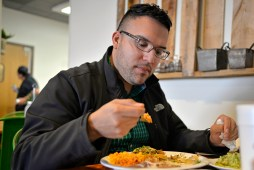 Jose Ortiz, of Forest Park, sits down for lunch. | Alexa Rogals/Staff Photographer