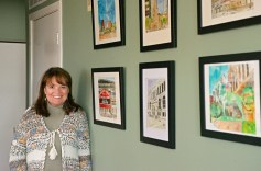 Heather Kadlec, of Forest Park, with some of her paintings inside her studio at her home in Forest Park. | Alexa Rogals/Staff Photographer