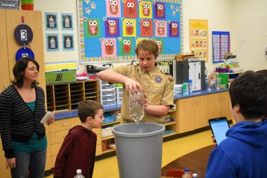 Henry Wagner demonstrates how a vortex works during STEAM night hosted by the South PTO last Friday. | Photo by Jill Wagner