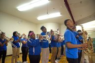 The Proviso East Marching Band performs for students on Monday, May 7, at Field-Stevenson School in Forest Park. | Alexa Rogals/Staff Photographer