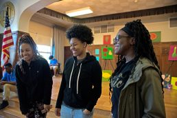 A group of seniors talk about how they came up with the ideas for the women's pool ideas on May 16 at Proviso East High School in Maywood, Ill.(By ALEXA ROGALS/ Staff Photographer)