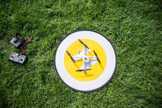 John Sheehan's drone on a small helipad. | Alexa Rogals/Staff Photographer