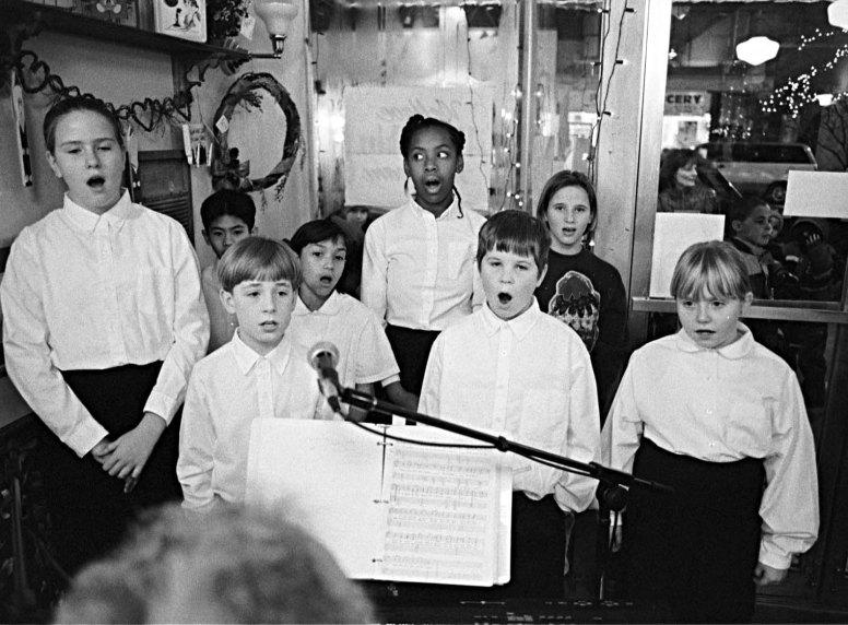 The St. Bernardine's Church youth choir sing holiday greats. photo by Frank Pinc