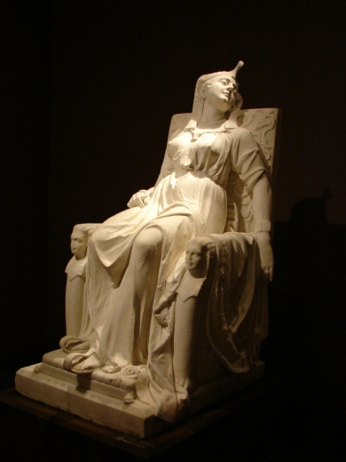 """Edmonia Lewis's work for the Century Exposition of Philadelphia in 1876 was """"The Death of Cleopatra."""" Dimensions: 63 x 31.25 x46 inch statue"""