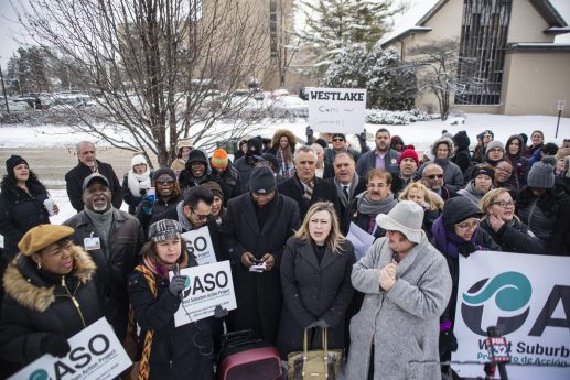 Demonstrators chant in protest during a press conference and protest denouncing the closure of the hospital outside of Westlake Hospital in Melrose Park. | Alexa Rogals/Staff Photographer