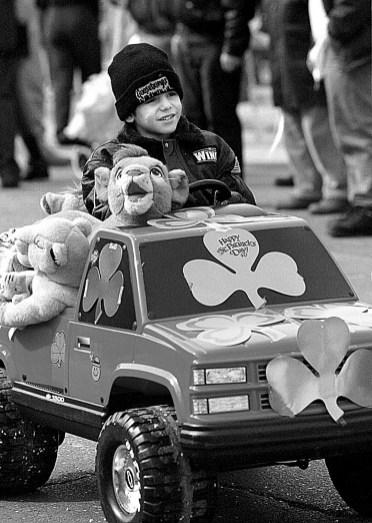 Kindergartener from Field Stevenson, Antony Massari, drove his battery-operated truck in the parade.