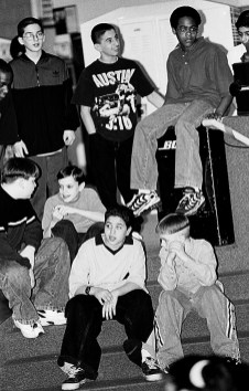 Forest Park Middle Schoolers dancing at the Middle School Dance for St. Patrick's Day 1999.