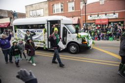 Participants from the Roos Recreation Center and Park District of Forest Park, throw out candy during the annual Forest Park St. Patrick's Day Parade on Madison Street throughout downtown Forest Park. | Alexa Rogals/Staff Photographer