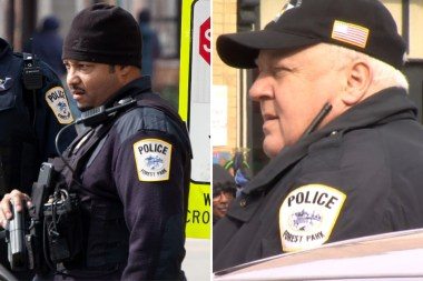 Forest Park auxiliary officers Donald Bolton (left) and Francis Lane, both recently accused of misconduct, were present at Forest Park's St. Patrick's Day parade in March. | Photo of Bolton: Jared Rutecki/BGA; photo of Lane: NBC5