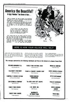 """May 4, 1975, the Review featured this ad encouraging Forest Parkers to participate and urge neighbors to """"Clean up, paint up, and fix up"""" as part of civic pride, national pride and the future of our children."""
