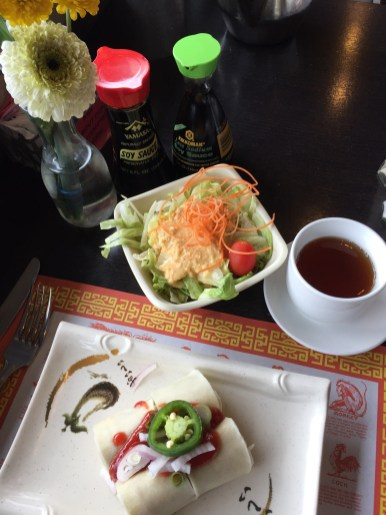 Salad and Spring Rolls served with the Japanese and Thai lunch specials | | Photo by Lourdes Nicholls
