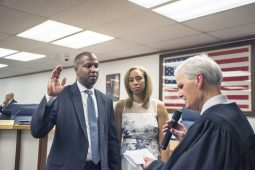 Incoming mayor Rory Hoskins gets sworn in on Monday, May 13, 2019, during a village hall meeting at the Village of Forest Park. | Alexa Rogals/Staff Photographer