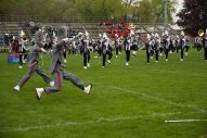 Members of the Oak Park Marching band from Oak Park, Michigan perform.   Shanel Romain/Contributor