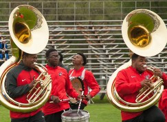 From Trotwood Ohio, the Trotwood-Madison Marching Band, perform.   Shanel Romain/Contributor