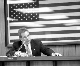 A standing room only crowd gathered at Village Hall on April 26, 1999 watching the newly elected mayor Anthony Calderone pick up the gavel for the first time.   File photo