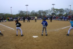 Throwing the first pitch to open the 2002 season included community leaders from throughout the Village.