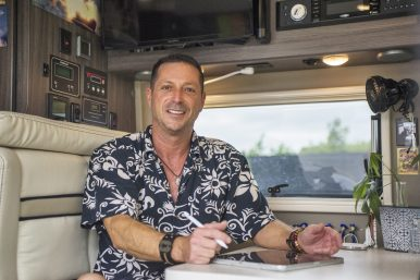 Scott Watson, of Forest Park, in his live-in van at the Park District of Forest Park. | Alexa Rogals/Staff Photographer