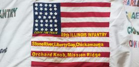 This is a recreation of the 89th Infantry Railroad Regiment flag which was completed by Forest Park Cub Scouts.