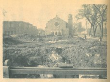 View of St. Bernardine's Church after the passing of Vogel's bowling alley.
