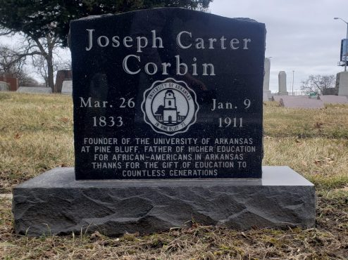 This grave marker was added in 2013 after volunteer Gladys Turner researched Joseph Carter Corbin to find his final resting place. It recognizes the contributions made by the Corbin family to create higher education opportunities for men and women who were black during reconstruction and segregation in Arkansas.