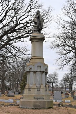 This monument overlooks the graves in the United Ancient Order of Druid section of the Forest Home Cemetery.