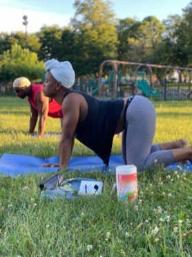 Batya Emunaw Walker and Daryl Satcher, who teach yoga at Urban Pioneer Group, 7503 Madison St., say they want to make sure more African Americans take advantage of yoga's benefits.