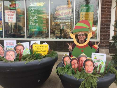 Take a photo in the Buddy the Elf cut-out on Circle Avenue and Madison Street. | Maria Maxham